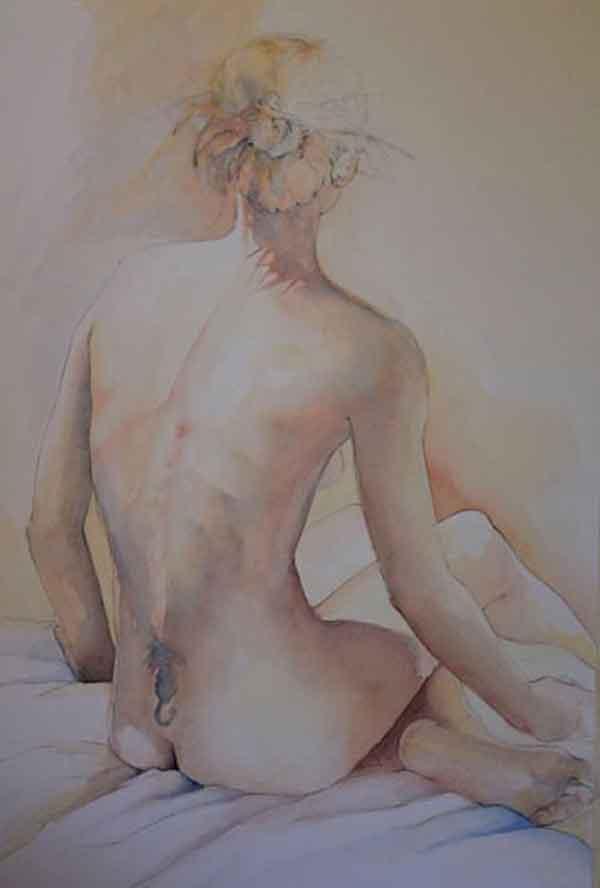 Nude Figure Study - Watercolor by Hettie Rowley