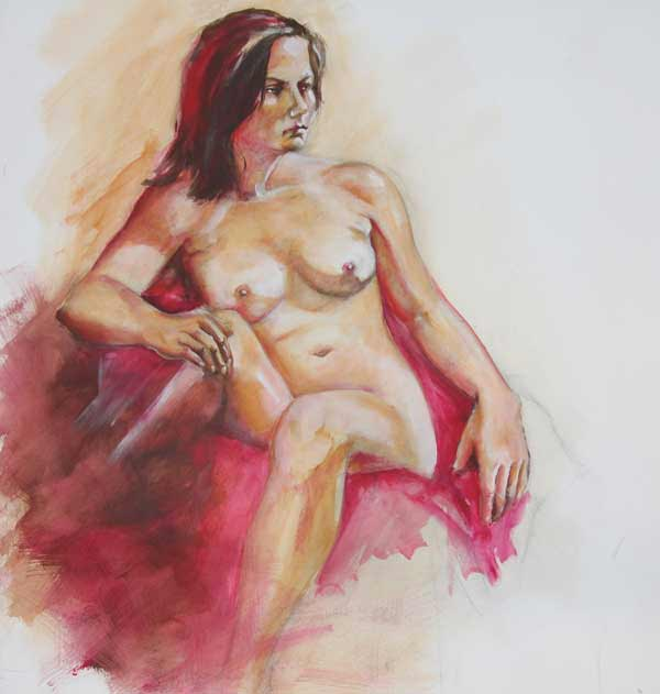 Life Drawing 2 by Hettie Rowley (Acrylics)