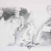 Pouring Water on the Fire - Illustration - pencil drawing