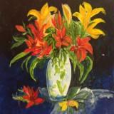 Flower Vase in acrylics by Sjoukje Tarbox