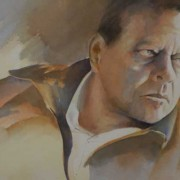 A watercolor portrait of my father