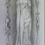 Pencil drawing to include decorative rubbings down each side