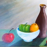 Still Life focusing on application of acrylic paint and light source