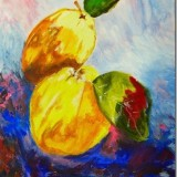 Acrylic / Fruit on a brightly coloured background