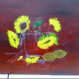 Original sketch and now buiding up the paint on this sunflower painting